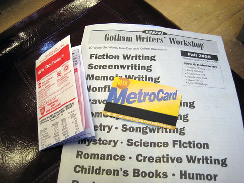 Metro Card and Gotham Writers paper