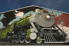 LOCOMOTIVE -- SOUTHERNWAY 4501 (NC Cigany) Tags: sky color water wall museum train painting nc mural colorful waterfront wwii gray navy traintracks northcarolina railway nostalgia locomotive battleship capefearriver ncraleigh