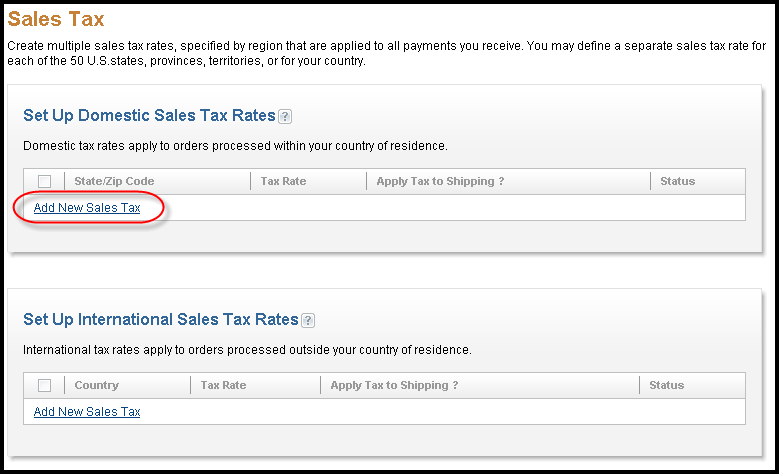 PayPal Sales Tax Screen Shot