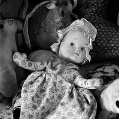 Doll (robert schneider (rolopix)) Tags: stilllife 120 6x6 film zeiss mediumformat square toys doll connecticut newengland ct august hasselblad 2008 ilford fp4 planar conn bantam 80mm ilfordfp4 501cm fp4plus proxar 120620 fixedshadows believeinfilm
