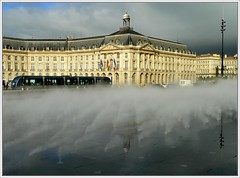 Bordeaux. New fog, new look (platane31) Tags: france reflection fog lumix fz20 bordeaux reflet tramway brume placedelabourse aquitaine gironde watermirror miroirdeau leplatane