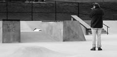 Shooting A Shooter (Mo Pics) Tags: camera shadow bw white man black lines stairs contrast fence concrete graffiti newspaper rail skatepark shaps shootingashooter