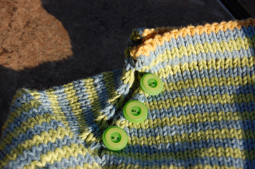 Stripe Sweater - Green Buttons