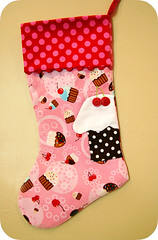 Kitschy Cute Stocking-Cupcakes (GoingSewCrazy) Tags: christmas eve cute diy blog stem cherries hand handmade embroidery buttons sewing craft sew giveaway kawaii ric stocking etsy crafty kitschy rac appliqued cupacke