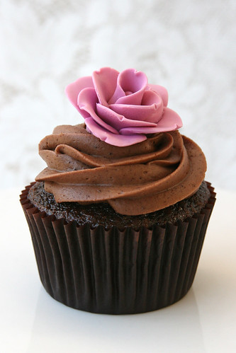 Chocolate Cupcake with Pink Rose by Glorious Treats.