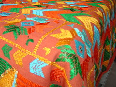 single bed cover II (on hand spun khaddar) (KritIndia) Tags: bagh bedcover phulkari silkembroidery khaddar darnstitch