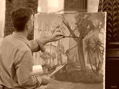 El pintor de la Av. Constitución. (akiar) Tags: sepia sevilla olympus e300 zuiko xataca akiar akiarexpone photowalkxfsevilla