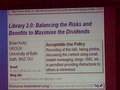 Brian Kelly - Bridging Worlds 2008 Conference
