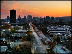 An autumn sunset on Montreal (-phil-) Tags: leica city sunset urban night landscape lumix niceshot montreal panasonic hdr handheldhdr dmcfz50 hdrquebec lumixaward flickrestrellas lumixhdr panasoniclumixhdr