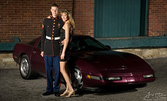 Marine Ball (thomasona.com) Tags: strobist austin thomason thomasona michigan annarbor ypsilanti detroit washtenaw nikon d70 vivitar 285hv flash smallstrobe photograph pocketwizard nikkor 3570 70mm car automobile auto chevrolet chevy corvette vette purple marine dressblues couple