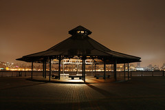 Pat's Gazebo ( estatik ) Tags: park city nyc longexposure ny newyork storm rain fog skyline dark lights pier newjersey flickr cityscape shadows waterfront nocturnal nj gazebo midtown pmarella hudsonriver pats atnight wandering nocturne hoboken afterdark manhattanview hudsoncounty nocturnes aplacetoosit