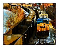 Mon River Coal Ops (Images by A.J.) Tags: railroad autumn winter snow fall train river pennsylvania ns rail railway trains pa transportation locomotive mon coal ge bahn freight logistics monongahela brownsville generalelectric csx norfolksouthern  carril chemindefer  csxt   cw44ac ac4400cw cw44ah