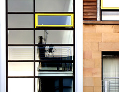 yellow window (tom clearwood) Tags: street reflection building window wall scotland glasgow westend s100fs
