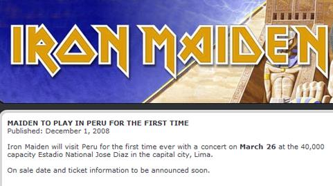 Iron Maiden en Lima Concierto Precio Entradas