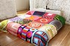 Vintage Scarf Quilt by Ouno Design (ouno design) Tags: color colour scarf vintage mod colorful quilt recycled silk khaki retro blanket organic colourful chic bedspread sustainable hemp bedding reversible sustainabledesign coverlet bedcover upcycled veraneumann vintagescarfquilt