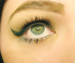 Peacock Eyes (hannah karina) Tags: black green glitter gold eyes shine mascara shimmer eyeliner eyemakeup