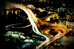 (frischmilch) Tags: city longexposure cars lines norway night lights nightshot traffic curves bergen submittedtogetty artistpick091114 stadtgetty2010