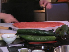 Prepping the salmon