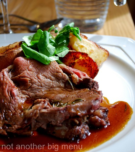 Bailbrook House Restaurant - Roast West Country rib of beef, Yorkshire pudding, thyme roasted gravy, garlic roast potatoes