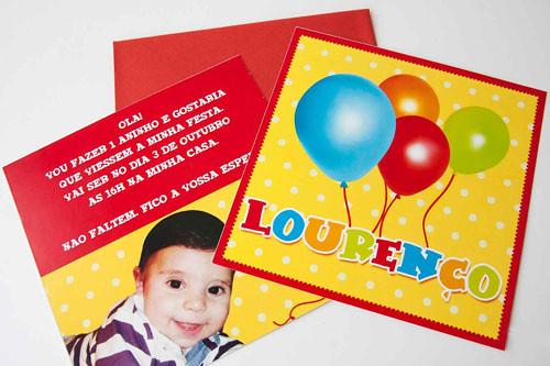 Convite Tema Balões