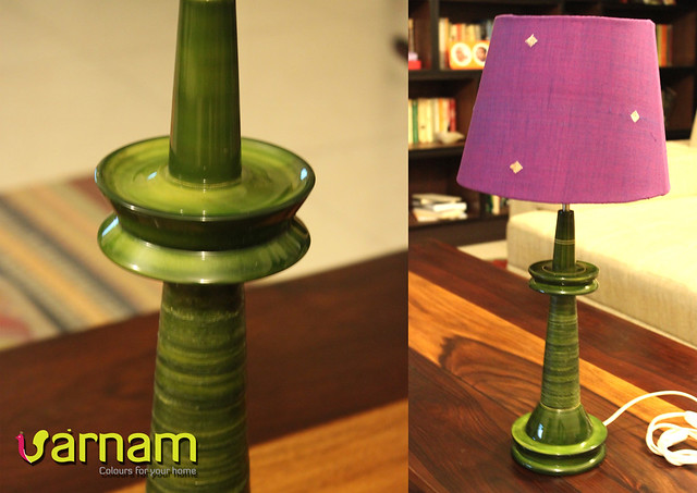 green deepam with purple buta shade