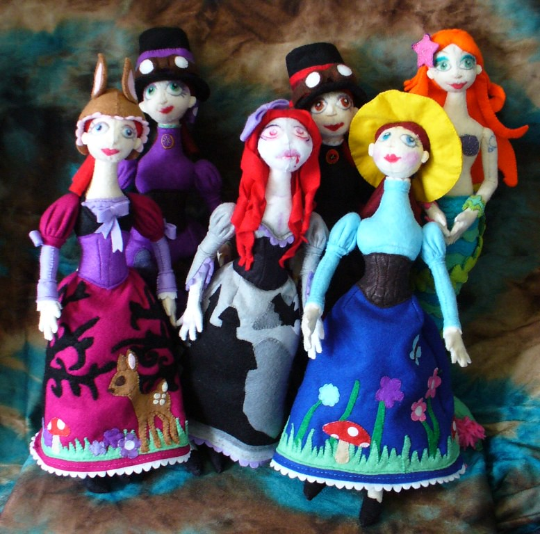 Handmade felt dolls, group shot