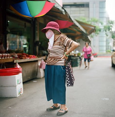 Selection  (Skies of Bitan ) Tags: street city morning urban film analog rural umbrella mediumformat shopping countryside colorful market kodak fsu taiwan ukraine 120film busstop irony taipei analogue colourful  ironic   shopper  kiev60   colorfilm     wlf    colourfilm waistlevelviewfinder  commiecamera  arsat80mmf28 ukrainiancamera     kodaknewportra400
