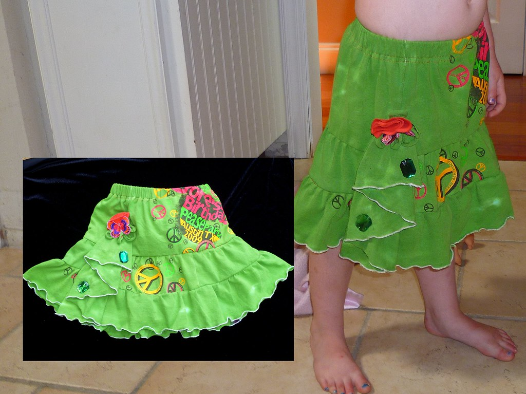 Child's Upcycled T-shirt into a-line ruffles by Stacie George