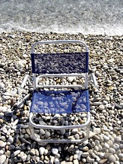 THE SEA NEXT TO  ME (dimitra_milaiou) Tags: above blue sea summer beach water stone swimming island greek grey one 1 design beige europe day chairs sony aegean hellas pebbles greece summertime samos dimitra  dscp93a   aigaio    milaiou