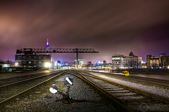 (Andreas Reinhold) Tags: longexposure industry night port train geotagged harbor industrial harbour crane trails rails hafen dsseldorf signal kran industrie duesseldorf gleise hdr schienen andreasreinhold geo:lat=51220523 geo:lon=6744629