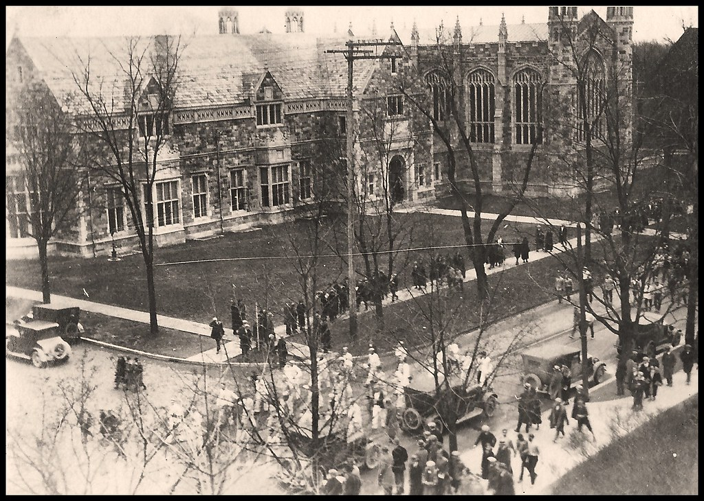 View of State Street, tennis team, and brand new Lawyers Club, from Union Tower -- 1925.