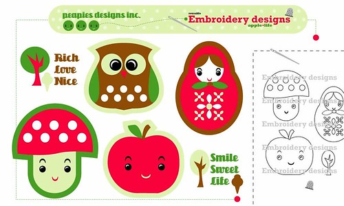 Embroidery design by Peapies designs inc