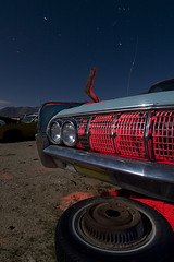 Cooling Blades (Lost America) Tags: night fullmoon lightpainting pearsonville junkyard highway395 abandoned nocturnes car 1963 lincoln continental