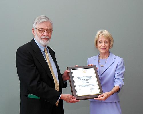Vic Johnson receives award