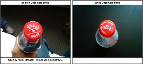 English vs. Swiss: Coca Cola bottle