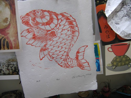 'Koi lino print' - minouette on Flickr