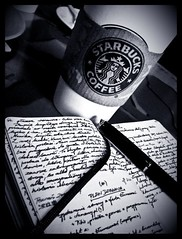 starbucks moleskine (Wojciech Ruchniewicz) Tags: stilllife moleskine germany blackwhite europe frankfurt casio starbucks fountainpen exilim waterman