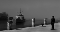 Navy boat arriving in a misty covered Dun Laoghaire (Dave Road Records) Tags: ireland blackandwhite dublin dunlaoghaire navyboat