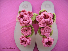sandals3 (creationsbyeve) Tags: flowers leather handmade sandals crochet greece
