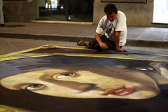 Pavement art (Pawel Boguslawski) Tags: street italy art girl face night canon painting florence chalk drawing firenze pearl earing 40d