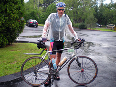 Orny arrived soaked at Sandwich in his wet weather gear