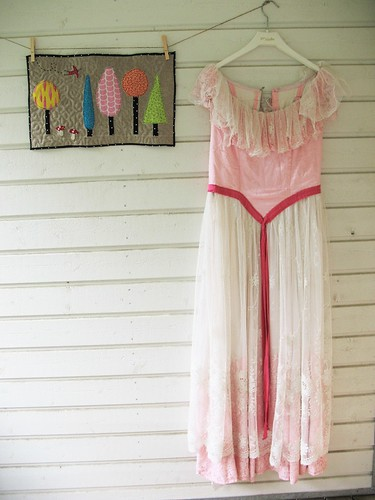 Art quilt and grandma's old dress