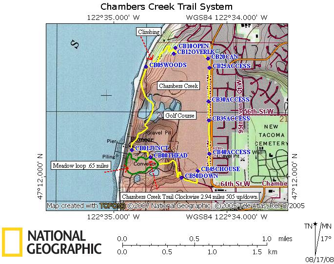 Chambers Creek trail profile. Clockwise from low point meadow parking lot.