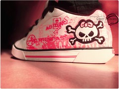 I think I'm moving but I go nowhere ..! (Crazy Princess) Tags: pink macro cute rock shoe skull crazy shoes punk princess emo bored rocker crazyprincess