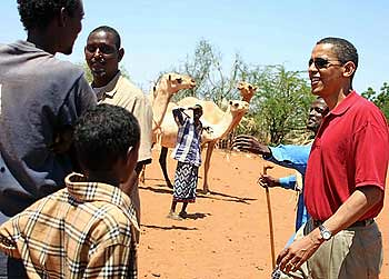 Barack Obama in Kenya with Somali herdsmen