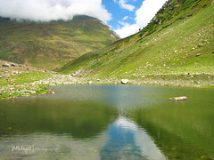 Mori Lake (iM Khan { AWAY }) Tags: pakistan lake mountains reflection clouds valley kashmir mori azad canonpowershots3is imkhan nellum