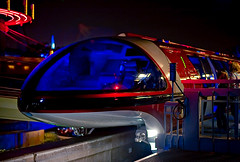 Boarding Monorail Red (disneymike) Tags: california red guests night nikon disneyland disney passengers monorail anaheim nikkor d3 lightroom disneylandresort 50mmf14d disneylandpark monorailred markvii tomorrowlandstation monorailredmarkvii