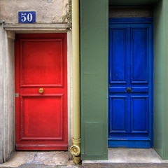 blue or red??... :-)) (*bratan*) Tags: blue red paris france facade square rouge bravo colorful doors vert bleu porte rue hdr portes photomatix magicdonkey infinestyle bratanesque