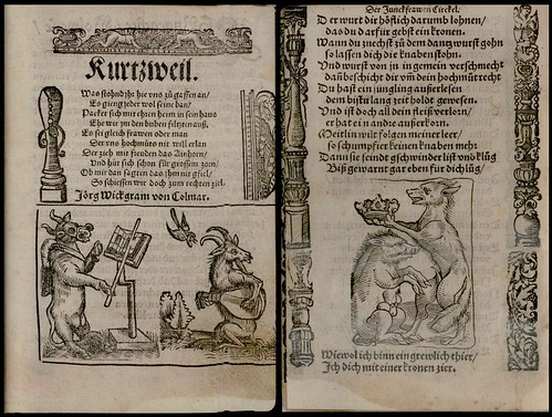 woodcuts: cow conductor + goat on flute AND wolf crowns pig