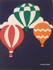 Marushka - hot air balloons (red, orange, and gree on navy blue background)